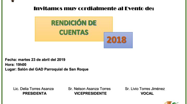 EL GAD PARROQUIAL SAN ROQUE INVITA A LA RENDICIÓN DE CUENTAS.